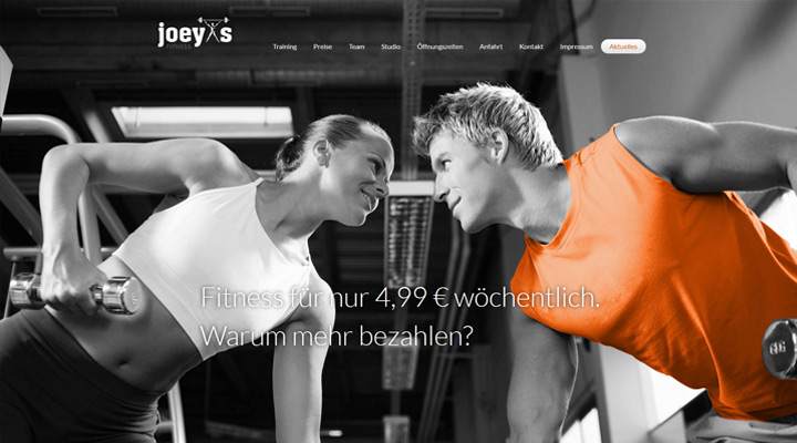 Homepage Joey's Fitness in Fürstenfeldbruck